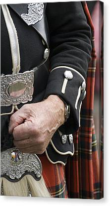 Canvas Print featuring the photograph Highland Scottish Soldier by Sally Ross
