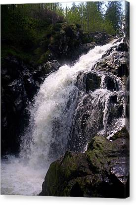 Highland Waterfall Canvas Print by R McLellan