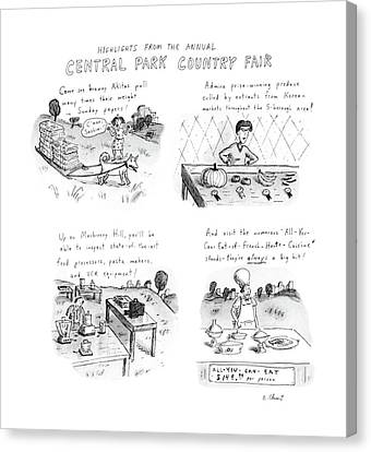 Highlights From The Annual Central Park Country Canvas Print by Roz Chast