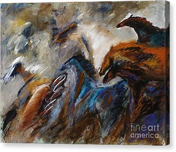 Hightailing It Out Of There Canvas Print by Frances Marino