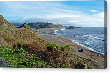 Highway 1 Near Outlet Of Russian River Into Pacific Ocean Near Jenner-ca  Canvas Print