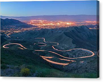 Highway 74 Palm Desert Ca Vista Point Light Painting Canvas Print