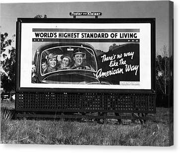 Highway Billboard, 1937 Canvas Print by Granger