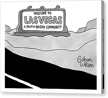 Signed Canvas Print - Highway Sign That Says Welcome To Las Vegas by Gahan Wilson