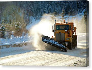 Highway Snow Plow In Winter Canvas Print by Richard Wright