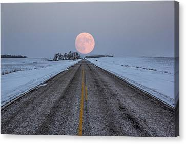 Winter Roads Canvas Print - Highway To The Moon by Aaron J Groen