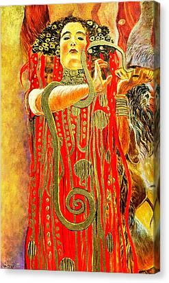 Higieja-according To Gustaw Klimt Canvas Print by Henryk Gorecki