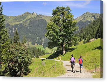 Hike In Beautiful Mountain Landscape In The Alps Canvas Print by Matthias Hauser