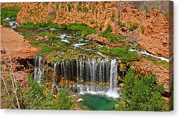 Hike Into Havasupai  Canvas Print by Michael J Bauer