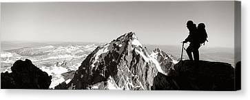 Hiker, Grand Teton Park, Wyoming, Usa Canvas Print by Panoramic Images