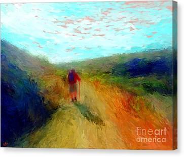 Hiker On Path Canvas Print by Gerhardt Isringhaus