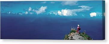 Hiker Pali Kokee State Park Kauai Hi Usa Canvas Print by Panoramic Images