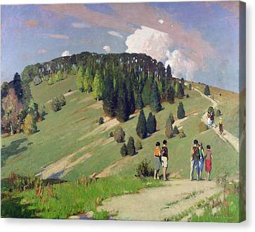Hikers At Goodwood Downs Canvas Print by George F. Henry