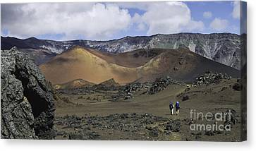 Hikers In The Haleakala Crater Canvas Print by Frank Wicker