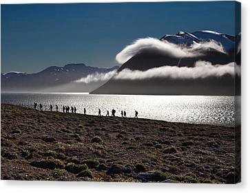 Hikers In The High Arctic Canvas Print