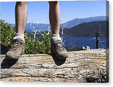 Hikers Legs And Boots  Canvas Print by Gal Eitan