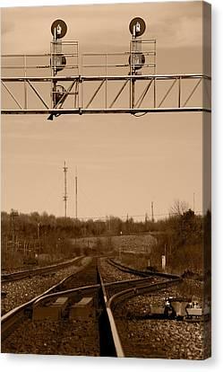 Hikin' The Tracks Canvas Print by Paul Wash