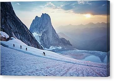 Hiking Around A Crevice Of West Ridge Canvas Print by Geoff George