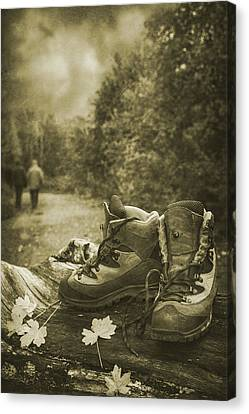Autumn Leaf Canvas Print - Hiking Boots by Amanda Elwell