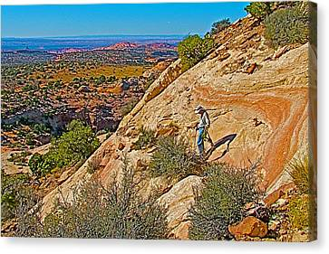 Hiking Down Steep Slickrock Of Aztec Butte Trail In Island In The Sky In Canyonlands Np-utah Canvas Print by Ruth Hager