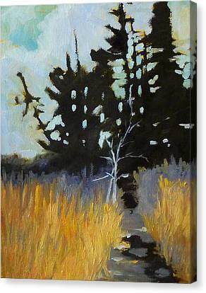 Hiking The Winter Trail Canvas Print by Nancy Merkle