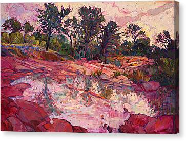 Canvas Print featuring the painting Hill Country Dawn by Erin Hanson
