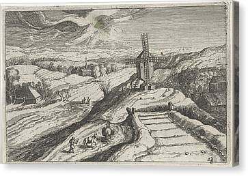 Hill Landscape With A Windmill, Josse Van Liere Canvas Print by Josse Van Liere And Hendrick Hondius (i)