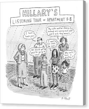 'hillary's Listening Tour Of Apartment 8-b' Canvas Print