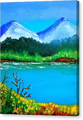 Pinoy Canvas Print - Hills By The Lake by Cyril Maza