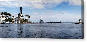 Hillsboro Inlet Lighthouse Panorama Canvas Print by Lynn Palmer