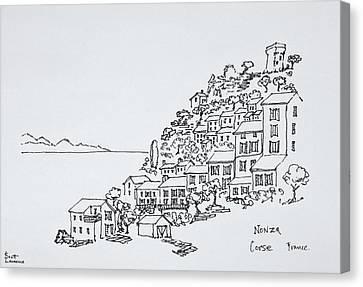 Hilltop Village Of Nonza, Corsica Canvas Print