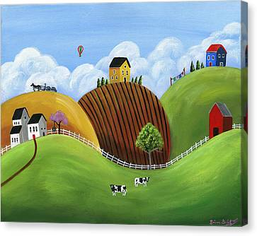 Hilly Homes Canvas Print by Brianna Mulvale