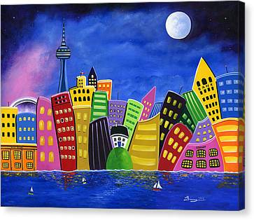 Hilly Meets High-rise Harbour Canvas Print by Brianna Mulvale