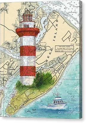 Hilton Head Island Lighthouse Sc Nautical Chart Map Art Cathy Peek Canvas Print by Cathy Peek