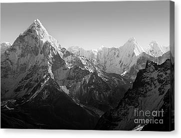 Himalaya Mountains Black And White Canvas Print