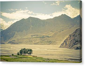 Mountain Canvas Print - Himalayas Road Kagbeni by Raimond Klavins