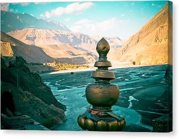 Tibetan Canvas Print - Himalayas Road To Upper Mustang  From Kagbeni by Raimond Klavins