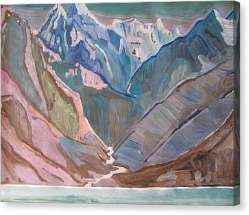 Canvas Print featuring the painting Himalayas by Vikram Singh