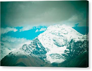 Himalyas Range Closeup View From Tibet Canvas Print by Raimond Klavins