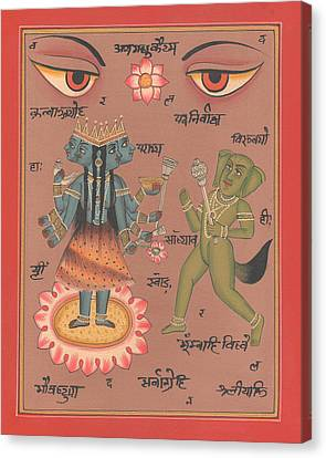 Hindu Goddess Durga Demon Madhu Eyes Of India Mysterious Artwork Painting United Kingdom  Canvas Print by A K Mundhra