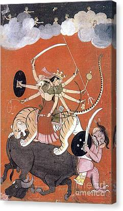 Hindu Goddess Durga Fights Mahishasur Canvas Print