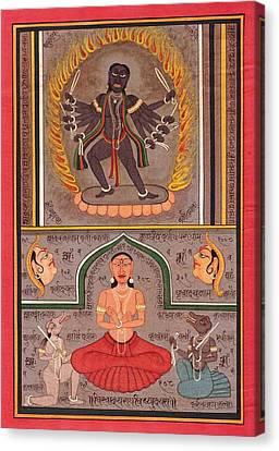 Hindu Goddess Kali Kalika Miniature Painting Sanskrit Calligraphy India  Canvas Print by A K Mundhra