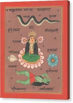 Hindu Goddess Laxmi Welth Money Handmade Painting Artist Water Color Flower Hinduism Yoga Canvas Print by A K Mundhra