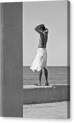 Hindu Priest Homage To Sun And Arabian Canvas Print by Kantilal Patel