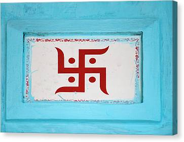 Hindu Symbol, Swastika, Varanasi, India Canvas Print by Keren Su