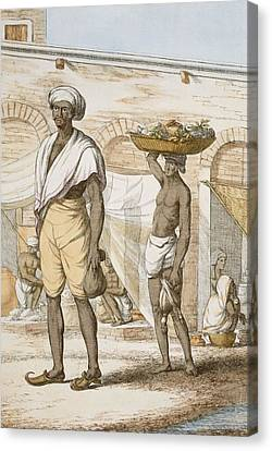 Basket Head Canvas Print - Hindu Valet Or Buyer Of Food, From The by Franz Balthazar Solvyns