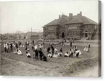 Schoolyard Canvas Print - Hine School Garden, 1917 by Granger