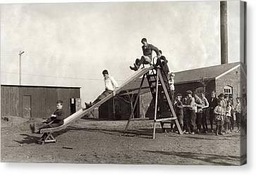 Schoolyard Canvas Print - Hine Schoolyard, 1917 by Granger
