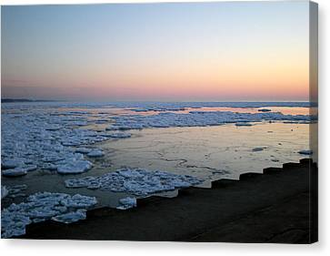 Canvas Print featuring the photograph Hints Of Spring South Haven Pier by Penny Hunt
