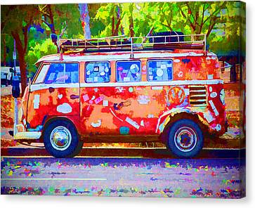 Canvas Print featuring the photograph Hippie Van by Jaki Miller